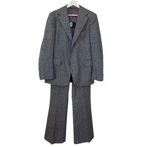 Disco Tweed 1970 two pieces suit flared pants